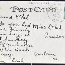 Image of Message addressed to Miss Ethel Conely