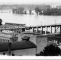 Image of Missouri River Flood St. Charles Hwy 115 Bridge on right.      - Topical Photos