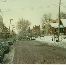 Image of South Main Street, 600 block looking south.  Note:  telephone poles still there, c. 1986 - 1987 - More Topics