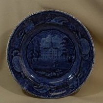 Image of 1967.001.019 - Flow blue transfer patter plate with scene of Transylvania University, Lexington, Kentucky. Enoch Wood & Sons; Staffordshire; about 1846.
