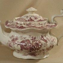 Image of 1967.001.039 - Teapot, Adams, Staffordshire, purple transferware with flower decoration