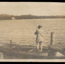 Image of Henry Honore fishing - circa 1914