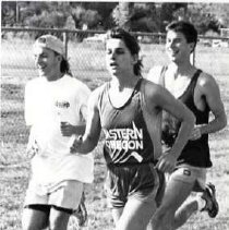 """Image of 1992 Cross Country Running 2 - """"1992 - X-Country: Janet Bownes w/ Tony DeAugustine & Rich Wiebe, Homecoming"""""""