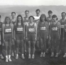 """Image of 1992 Cross Country Team - """"1992 - X-Country""""  The 1992 cross country team poses with their coach."""