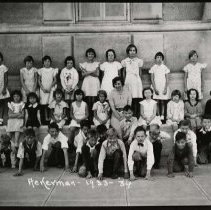 """Image of 1933-34 Ackerman Elementary - """"1933-34 Ackerman - November, A.5.""""  This is the class of 1933-34 at Ackerman Elementary School.  The picture was taken outside of the building."""