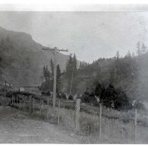 "Image of 1910+/- Oregon, Rural 2 - ""Perry area?""  This is a very rural area with only a few signs of man's intrusion.  There are electricity poles and a wire fence."