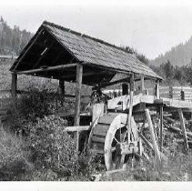 """Image of Wallowa, Saw Mill 1-1 - """"Built by Billy Namitlim('s) father.  Marsh Davis built the wheel. - Chamberlain""""  """"1st saw mill in Wallowa. - Mr. Evans"""""""