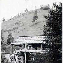 """Image of Wallowa, Saw Mill 1-2 - """"Built by Billy Namitlim's father.  Marsh Davis built the wheel.""""  """"1st saw mill in Wallowa. - Mr. Evans"""""""