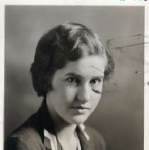 """Image of 1932 Alumni, Helen Glenn Littlefield - """"1932 - Helen Glenn Littlefield, Charter Years, c. 1929-1939""""  This is a portrait of Helen Glenn wearing a dark colored, collared, sweater with a sailor's tie at the chest."""
