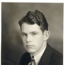 """Image of 1933 Alumni, Dwight Mahoney - """"1933 - Dwight Mahoney, Charter Years, c. 1929-1939""""  This is a portrait of Dwight Mahoney wearing a dark colored suit over a white, dress shirt, and dark, patterned necktie."""