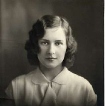 """Image of 1930 Alumni, Ruby Melick - """"1930 - Ruby Melick, Charter Years, c. 1929-1939""""  This is a portrait of Ruby Melick wearing a light colored, collared blouse."""