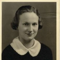 "Image of 1935 Alumni, Lois Cameron - ""Class of 1935 - Lois Cameron Luck, Charter Years, c. 1929-1939""  This is a portrait of Lois Cameron Luck wearing a dark colored, blouse with a white collar."