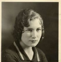 "Image of 1933 Alumni, Beryle Marlott McLin - ""Class of 1933 - Beryle Marlott McLin, Charter Years, c. 1929-1939""  This is a portrait of Beryle Marlott McLin wearing a dark colored, sweater with a collar."