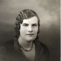 """Image of 1931 Alumni, Bernice Hift - """"1931 - Bernice Hift, Charter Years, c. 1929-1939""""  This is a portrait of Bernice Hift wearing a dark colored, collared blouse and a short necklace."""
