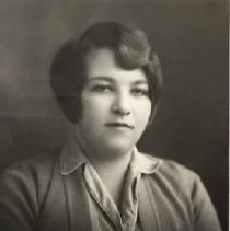 """Image of 1930 Alumni, Esther Blokland - """"1930 - Esther Blokland, Charter Years, c. 1929-1939""""  This is a portrait of Esther Blokland wearing a medium colored, sweater over a collared blouse."""
