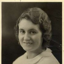 """Image of 1933 Alumni, Eileen Bull Knowland - """"Class of 1933 - Eileen Bull Knowland, Charter Years, c. 1929-1939""""  This is a portrait of Eileen Bull Knowland wearing a dark colored dress with a two-level, white collar."""