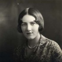 """Image of 1930 Alumni, Leritta Nicoson - """"1930 - Leritta Nicoson, Charter Years, c. 1929-1939""""  This is a portrait of Leritta Nicoson wearing a heavily patterned, collared blouse and a bead necklace."""