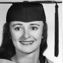 """Image of 1963 Alumni, Cauline Fanning - """"Cauline Fanning, Alumni, Long Creek""""  This is a portrait of Cauline Fanning wearing a graduation, tasseled cap and gown.  [Photo appears in the 1963 Mountaineer yearbook, pg. 45.]"""