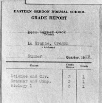 "Image of 1929 EONS Grade Report - ""Eastern Oregon Normal School Grade Report
