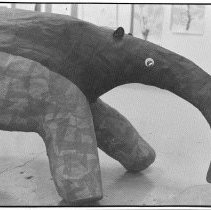 Image of Art, Aardvark - A whimsical aardvark is made out of what appears to be paper machet.