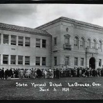 "Image of 1929 Inlow Hall Grand Opening 1 - ""June 5, 1929 - State Normal School La Grande, Ore. - 10.""  A large crowd gathers outside Inlow Hall for the opening year celebrations of Inlow Hall and the Eastern Oregon Normal School."