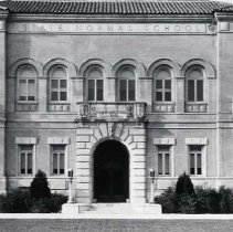 """Image of 1934 Inlow Hall Entrance - """"1934+/-  Inlow Hall, Administration Building, State Normal School""""  This is a picture of the entrance and middle facade of Inlow Hall."""