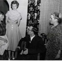 "Image of 1956-57 ""Late Christerfer Bean"" 1 - ""EOC PIC IDENT FOR FRIDAY OR SATURDAY.  A scene from last night's production, 'The Late Christopher Bean' [Late Christerfer Bean] at the EOC theatre shows four La Grande students (left) Donna Talbott as Abbie; Roberta Miller as Ada; Dwight Burtis as Dr. Hagget; and Diana Gilstrap as Mrs. Hagget. The play, under the direction of Richard (Dick) Hiatt, closes a three-night run Saturday.  Sock and Buskin.""