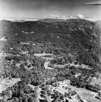"Image of Aerial, Baguio Luzon 2 - ""Aerial shot of Baguio area Luzon.  Japanese settlement - one building with hospital Red Cross on roof"""