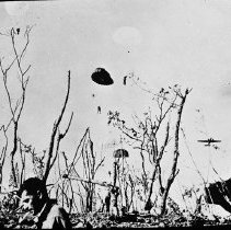 """Image of 503rd Parachute Infantry 2 - """"Signal Corps photo from ground - 2 parachutes still in air with their men visible - C-47 departing - Lantern slide original from Bob Flynn - 503rd historian"""""""