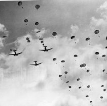 """Image of 503rd Parachute Infantry 6 - """"503rd Parachute Infantry drop - Feb 16 1945.  Signal Corps Photo - from ground, looking up"""""""