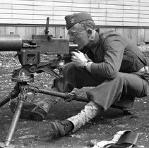 """Image of 41st Cantonment, Machine Gun 2 - """"186th Infantry - 41st Cantonment - North Fort Lewis  Machine Gun training at Barracks area"""""""