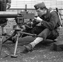 """Image of 41st Cantonment, Machine Gun 3 - """"186th Infantry - 41st Cantonment - North Fort Lewis   Machine Gun training at Barracks area"""""""