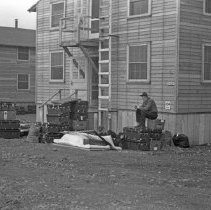 """Image of 41st Cantonment, Moving In 2  - """"186th Infantry - 41st Cantonment - North Fort Lewis  Moving into Barracks at 41st Cantonment - N. Ft Lewis - 1941"""""""