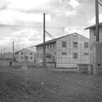 """Image of 41st Cantonment, Buildings 5 - """"186th Infantry - 41st Cantonment - North Fort Lewis  Moving into Barracks at 41st Cantonment - N. Ft Lewis - 1941"""""""