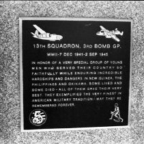 """Image of 5th Airforce Memorial Wall 15 - """"5th Air Force Memorial Wall at the Air Force Academy - Colorado Springs - May 2002""""  Plaque commemorates:  """"13th Squadron, 3rd Bomb Group"""""""