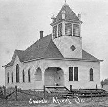 """Image of Alicel, Chuch 1 - """"Church - Alicel, Or.""""  [Photograph used in """"History of Union County, Oregon"""" (page 169), edited and compiled by Bernal D. Hug.]"""