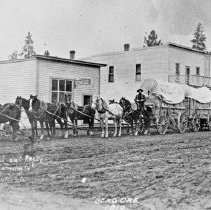 """Image of Bend, Freight Wagons - """"Freight Wagons - 3 wagons & 8 horse team - Bend Oregon 1910"""""""