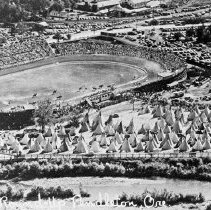 "Image of Aerial, Pendleton Round-up - ""E-101.  Pendleton Round-up - grounds / stadium / Indian tpees - Aerial photo"""