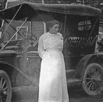 "Image of Automobile, Etha Huffman - ""Etha Huffman - 1914 - Reticulation on her face etc."""