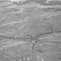 """Image of Aerial, Hot Lake Sanatorium - """"Pilot Oscar Knight - Piper Cub - flew Fred Hill around the Grande Ronde Valley to Photograph - minature Speed Graphic Camera"""""""