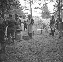 """Image of 186th Infantry, Field Kitchen 4 - """"186th Infantry - 41st Division - Overnight hike - Fort Lewis - 8/40 - National Guard annual encampment before we were mobilized Sept. 16, 1940 - Primitive field kitchen"""""""
