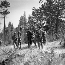 "Image of 186th Infantry, Training 10 - ""186th Infantry - 41st Division - Overnight hike - Fort Lewis - 8/40 - National Guard annual encampment before we were mobilized Sept. 16, 1940"""