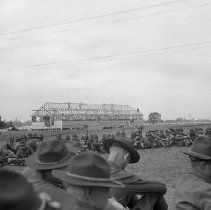 """Image of 41st Cantonment, Rifle Training - """"41st Division 1941 - Pertaining to the new 41st Cantonment area - N. Ft. Lewis - Training session on BAR's (Browning Automatic Rifles) - Theatre building under construction in background"""""""