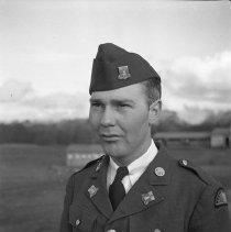 "Image of 41st Division, Pvt Baker - ""41st Division - E Co. 186 Infantry - Pvt Baker - Orderly room staff"""