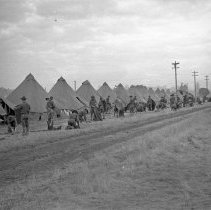 "Image of 41st Division, Camp Murray 2 - ""41st Division E 186 - Oct. 1940 - 1st Squad tents - no floors"""