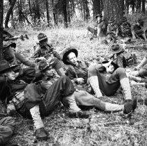 "Image of 41st Division, War Exercises 5 - ""41st Div. - War Games training - Break time - 'take ten' - 10 minute break"""