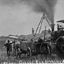 "Image of Alicel, Farm Thresher 1 - ""Ruckman Farm Scenes - Alicel Area - Clark & Ruckman Thresher - Steam traction engine - Aug. 28, 1906"""