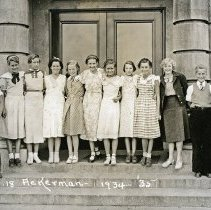 """Image of 1934-35 Ackerman Elementary 2 - """"1934-35 Ackerman, A.18""""  This is the class of 1934-35 at Ackerman Elementary School.  The picture was taken outside of the building."""