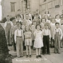 "Image of 1934-35 Ackerman Elementary 7 - ""1934-35 Ackerman, A1.""  This is the class of 1934-35 at Ackerman Elementary School.  The picture was taken on the side steps at Inlow Hall."