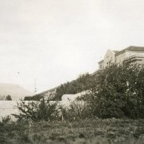 """Image of 1934 Inlow Hall Bushes - """"1934""""  Wild bushes grow near the stairs that run along the side of Inlow Hall."""